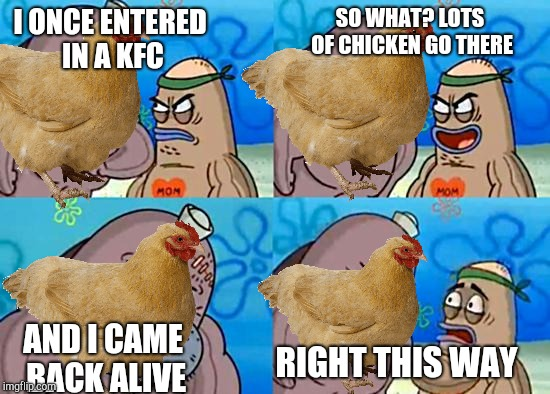 Chicken | I ONCE ENTERED IN A KFC AND I CAME BACK ALIVE SO WHAT? LOTS OF CHICKEN GO THERE RIGHT THIS WAY | image tagged in welcome to the salty spitoon,kfc,chicken week,chicken,memes | made w/ Imgflip meme maker