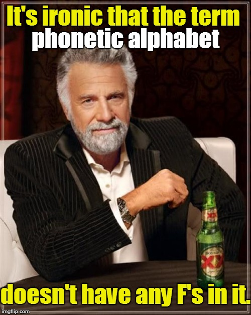 Think about it: | It's ironic that the term phonetic alphabet doesn't have any F's in it. | image tagged in memes,the most interesting man in the world | made w/ Imgflip meme maker