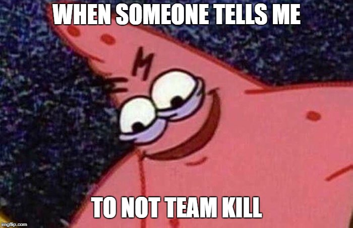 WHEN SOMEONE TELLS ME TO NOT TEAM KILL | image tagged in savage patrick | made w/ Imgflip meme maker