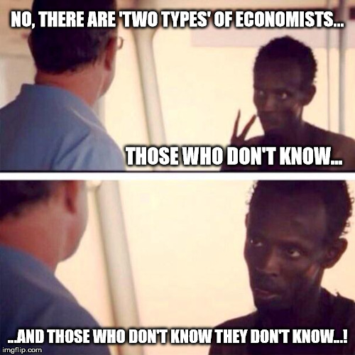 Economists rarely get it right | NO, THERE ARE 'TWO TYPES' OF ECONOMISTS... ...AND THOSE WHO DON'T KNOW THEY DON'T KNOW...! THOSE WHO DON'T KNOW... | image tagged in memes,captain phillips - i'm the captain now,economists,economy | made w/ Imgflip meme maker