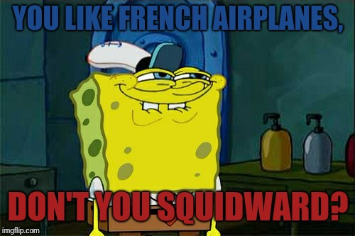 Dont You Squidward Meme | YOU LIKE FRENCH AIRPLANES, DON'T YOU SQUIDWARD? | image tagged in memes,dont you squidward | made w/ Imgflip meme maker