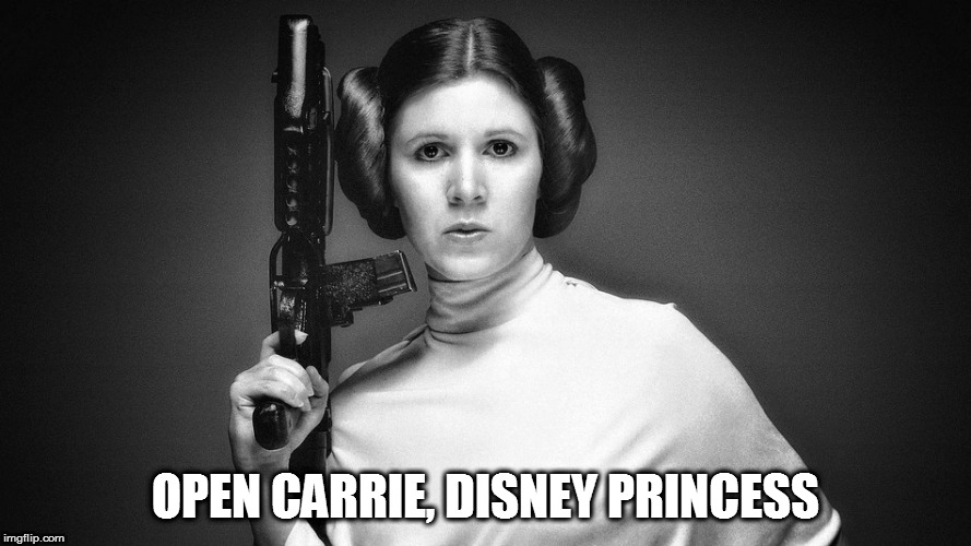 May the 2nd be with you | OPEN CARRIE, DISNEY PRINCESS | image tagged in memes,carrie fisher,open carry,disney princess | made w/ Imgflip meme maker