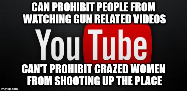 youtube | CAN PROHIBIT PEOPLE FROM WATCHING GUN RELATED VIDEOS CAN'T PROHIBIT CRAZED WOMEN FROM SHOOTING UP THE PLACE | image tagged in youtube | made w/ Imgflip meme maker