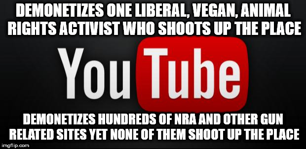 youtube | DEMONETIZES ONE LIBERAL, VEGAN, ANIMAL RIGHTS ACTIVIST WHO SHOOTS UP THE PLACE DEMONETIZES HUNDREDS OF NRA AND OTHER GUN RELATED SITES YET N | image tagged in youtube | made w/ Imgflip meme maker