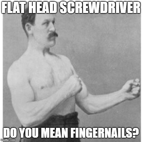 Overly Manly Man Meme | FLAT HEAD SCREWDRIVER DO YOU MEAN FINGERNAILS? | image tagged in memes,overly manly man,AdviceAnimals | made w/ Imgflip meme maker