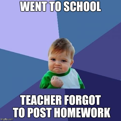 Success Kid Meme | WENT TO SCHOOL TEACHER FORGOT TO POST HOMEWORK | image tagged in memes,success kid | made w/ Imgflip meme maker