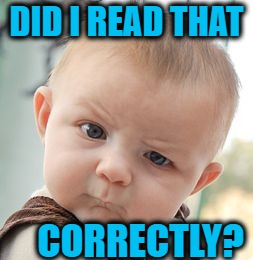 Skeptical Baby Meme | DID I READ THAT CORRECTLY? | image tagged in memes,skeptical baby | made w/ Imgflip meme maker