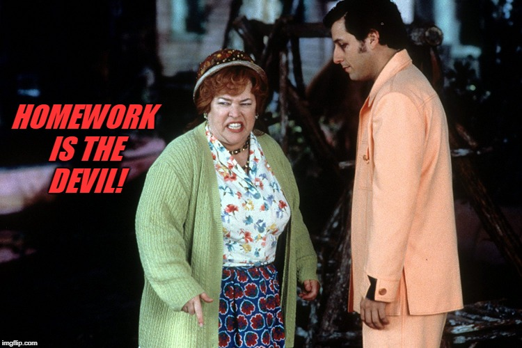 water boy mama  | HOMEWORK IS THE DEVIL! | image tagged in water boy mama | made w/ Imgflip meme maker