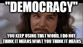 """DEMOCRACY"" YOU KEEP USING THAT WORD, I DO NOT THINK IT MEANS WHAT YOU THINK IT MEANS 