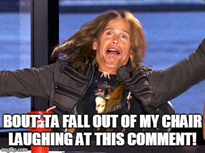 Steven Tyler | BOUT' TA FALL OUT OF MY CHAIR LAUGHING AT THIS COMMENT! | image tagged in steven tyler | made w/ Imgflip meme maker