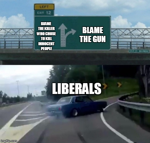 Left Exit 12 Off Ramp Meme | BLAME THE KILLER WHO CHOSE TO KILL INNOCENT PEOPLE LIBERALS BLAME THE GUN | image tagged in memes,left exit 12 off ramp | made w/ Imgflip meme maker