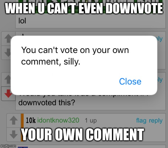 No comment  | WHEN U CAN'T EVEN DOWNVOTE YOUR OWN COMMENT | image tagged in yung mung,downvote,comments,first world imgflip problems | made w/ Imgflip meme maker