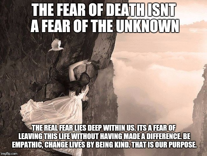 spirit  | THE FEAR OF DEATH ISNT A FEAR OF THE UNKNOWN THE REAL FEAR LIES DEEP WITHIN US. ITS A FEAR OF LEAVING THIS LIFE WITHOUT HAVING MADE A DIFFER | image tagged in spirit | made w/ Imgflip meme maker