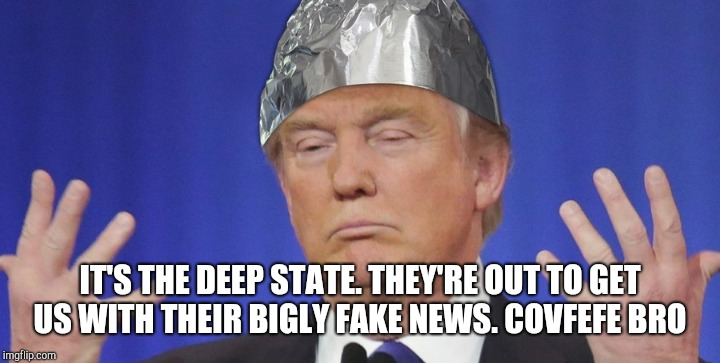IT'S THE DEEP STATE. THEY'RE OUT TO GET US WITH THEIR BIGLY FAKE NEWS. COVFEFE BRO | made w/ Imgflip meme maker