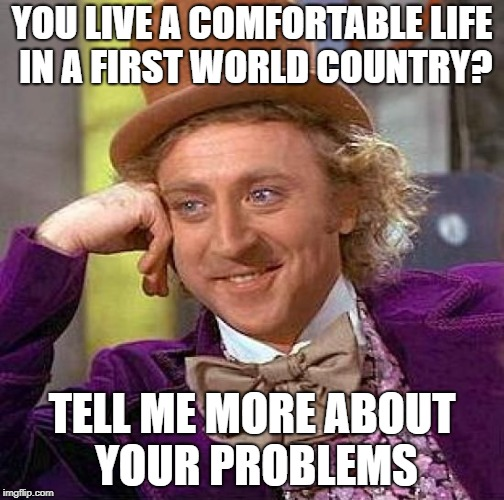 Creepy Condescending Wonka Meme | YOU LIVE A COMFORTABLE LIFE IN A FIRST WORLD COUNTRY? TELL ME MORE ABOUT YOUR PROBLEMS | image tagged in memes,creepy condescending wonka | made w/ Imgflip meme maker