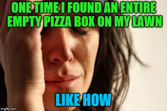 First World Problems Meme | ONE TIME I FOUND AN ENTIRE EMPTY PIZZA BOX ON MY LAWN LIKE HOW | image tagged in memes,first world problems | made w/ Imgflip meme maker