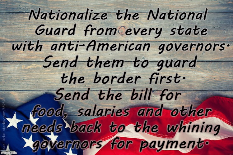 Nationalize National Guard | Nationalize the National Guard from every state with anti-American governors. Send the bill for food, salaries and other needs back to the w | image tagged in national guard,governors,anti american,liberals | made w/ Imgflip meme maker