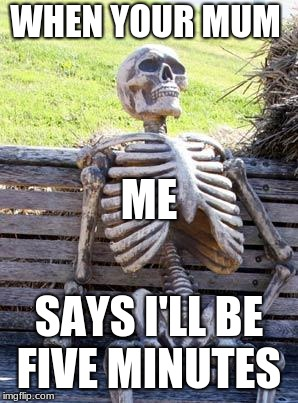Waiting Skeleton Meme | WHEN YOUR MUM SAYS I'LL BE FIVE MINUTES ME | image tagged in memes,waiting skeleton | made w/ Imgflip meme maker
