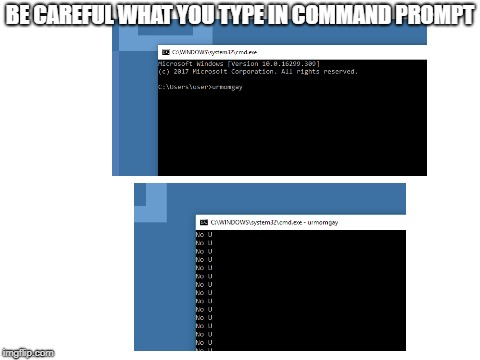 LOL That Batch File Tho | BE CAREFUL WHAT YOU TYPE IN COMMAND PROMPT | image tagged in blank white template | made w/ Imgflip meme maker