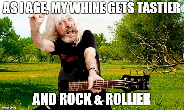 AS I AGE, MY WHINE GETS TASTIER AND ROCK & ROLLIER | image tagged in rock and roll,wine,aging | made w/ Imgflip meme maker