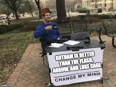 Change My Mind | GOTHAM IS BETTER THAN THE FLASH, ARROW, AND LUKE CAGE | image tagged in change my mind,scumbag | made w/ Imgflip meme maker