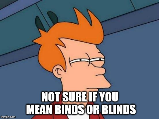 Futurama Fry Meme | NOT SURE IF YOU MEAN BINDS OR BLINDS | image tagged in memes,futurama fry | made w/ Imgflip meme maker