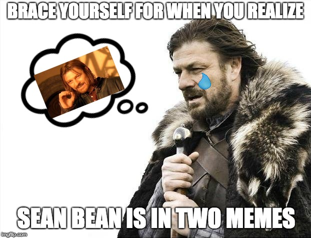 Sean Bean the Meme Machine | BRACE YOURSELF FOR WHEN YOU REALIZE SEAN BEAN IS IN TWO MEMES | image tagged in memes,brace yourselves x is coming | made w/ Imgflip meme maker
