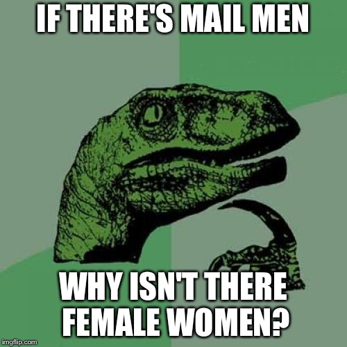 Philosoraptor Meme | IF THERE'S MAIL MEN WHY ISN'T THERE FEMALE WOMEN? | image tagged in memes,philosoraptor | made w/ Imgflip meme maker