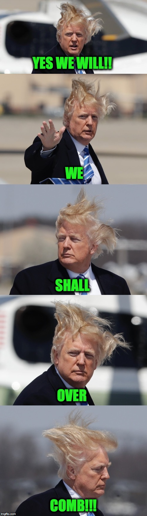 Sorry, Couldn't Resist!!! | YES WE WILL!! COMB!!! WE SHALL OVER | image tagged in overcomb | made w/ Imgflip meme maker