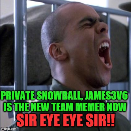 PRIVATE SNOWBALL, JAMES3V6 IS THE NEW TEAM MEMER NOW SIR EYE EYE SIR!! | made w/ Imgflip meme maker