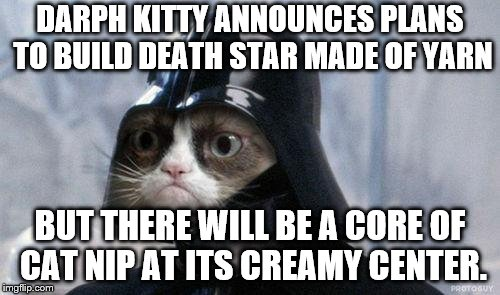 Grumpy Cat Star Wars Meme | DARPH KITTY ANNOUNCES PLANS TO BUILD DEATH STAR MADE OF YARN BUT THERE WILL BE A CORE OF CAT NIP AT ITS CREAMY CENTER. | image tagged in memes,grumpy cat star wars,grumpy cat | made w/ Imgflip meme maker