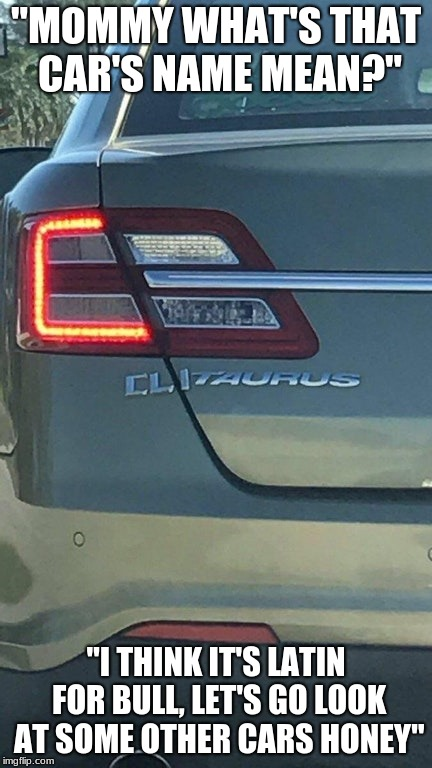 "Sometimes I marvel at America's ingenuity. | ""MOMMY WHAT'S THAT CAR'S NAME MEAN?"" ""I THINK IT'S LATIN FOR BULL, LET'S GO LOOK AT SOME OTHER CARS HONEY"" 