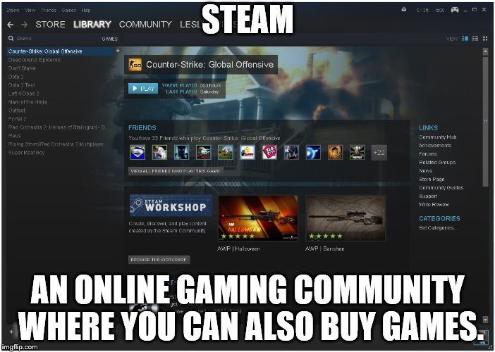 STEAM AN ONLINE GAMING COMMUNITY WHERE YOU CAN ALSO BUY GAMES. | made w/ Imgflip meme maker