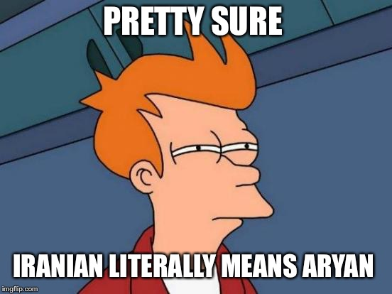 Futurama Fry Meme | PRETTY SURE IRANIAN LITERALLY MEANS ARYAN | image tagged in memes,futurama fry | made w/ Imgflip meme maker