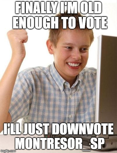 FINALLY I'M OLD ENOUGH TO VOTE I'LL JUST DOWNVOTE MONTRESOR_SP | made w/ Imgflip meme maker