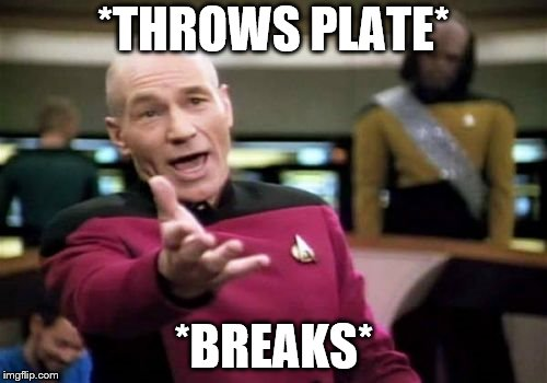 Picard Wtf Meme | *THROWS PLATE* *BREAKS* | image tagged in memes,picard wtf | made w/ Imgflip meme maker