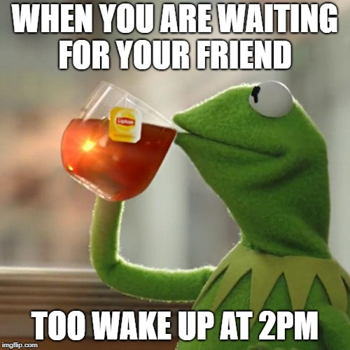 But Thats None Of My Business Meme | WHEN YOU ARE WAITING FOR YOUR FRIEND TOO WAKE UP AT 2PM | image tagged in memes,but thats none of my business,kermit the frog | made w/ Imgflip meme maker