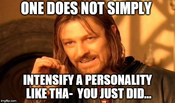 One Does Not Simply Meme | ONE DOES NOT SIMPLY INTENSIFY A PERSONALITY LIKE THA-  YOU JUST DID... | image tagged in memes,one does not simply | made w/ Imgflip meme maker