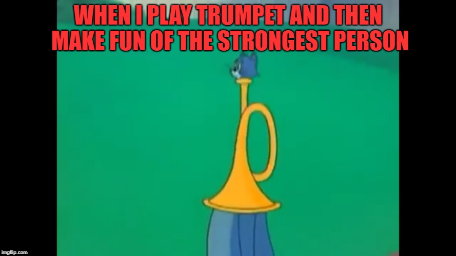 trumpet cat | WHEN I PLAY TRUMPET AND THEN MAKE FUN OF THE STRONGEST PERSON | image tagged in memes | made w/ Imgflip meme maker