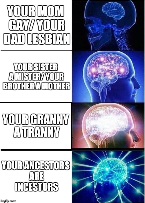 what a wierd family... | YOUR MOM GAY/ YOUR DAD LESBIAN YOUR SISTER A MISTER/ YOUR BROTHER A MOTHER YOUR GRANNY A TRANNY YOUR ANCESTORS ARE INCESTORS | image tagged in memes,expanding brain | made w/ Imgflip meme maker