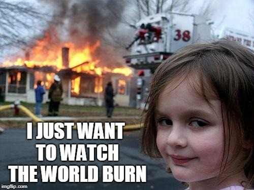 Disaster Girl Meme | I JUST WANT TO WATCH THE WORLD BURN | image tagged in memes,disaster girl | made w/ Imgflip meme maker