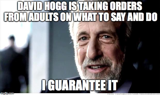 I Guarantee It Meme | DAVID HOGG IS TAKING ORDERS FROM ADULTS ON WHAT TO SAY AND DO I GUARANTEE IT | image tagged in memes,i guarantee it,funny,david hogg | made w/ Imgflip meme maker