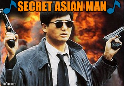Secret agent | image tagged in asian man with gun | made w/ Imgflip meme maker