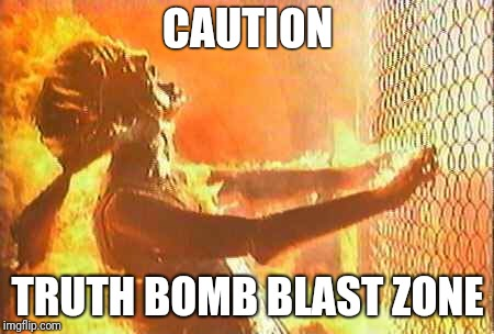 Truth Bomb Blast Zone | CAUTION TRUTH BOMB BLAST ZONE | image tagged in terminator nuke,truth,warning,nuclear blast,truth hurts,the truth | made w/ Imgflip meme maker