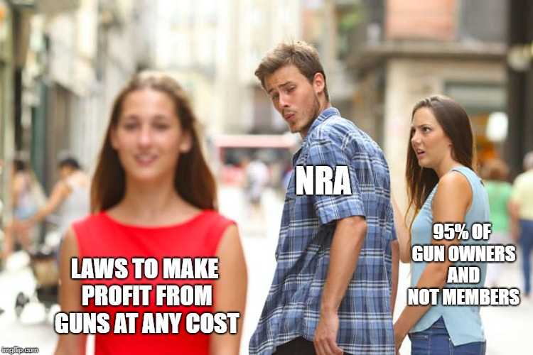Distracted Boyfriend Meme | LAWS TO MAKE PROFIT FROM GUNS AT ANY COST NRA 95% OF GUN OWNERS AND NOT MEMBERS | image tagged in memes,distracted boyfriend | made w/ Imgflip meme maker