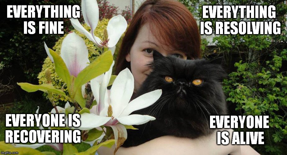 Юлия Скрипаль | EVERYTHING IS FINE EVERYONE IS RECOVERING EVERYTHING IS RESOLVING EVERYONE IS ALIVE | image tagged in julia skripal,yulia skripal | made w/ Imgflip meme maker