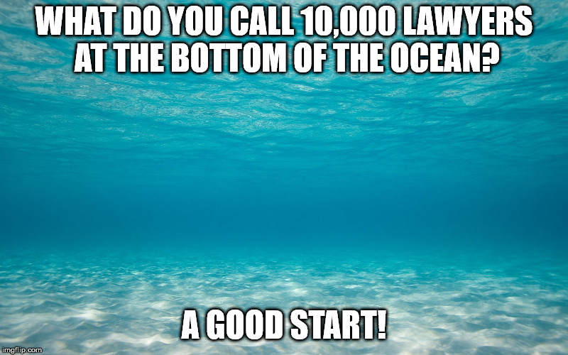 WHAT DO YOU CALL 10,000 LAWYERS AT THE BOTTOM OF THE OCEAN? A GOOD START! | image tagged in original meme | made w/ Imgflip meme maker
