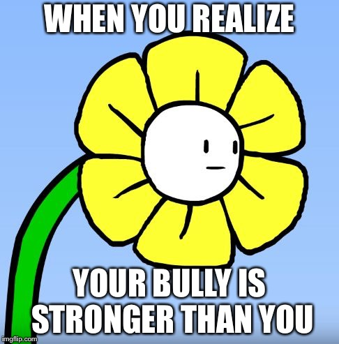 Welp dis is probaly bad...... | WHEN YOU REALIZE YOUR BULLY IS STRONGER THAN YOU | image tagged in wut flowey,things go wrong,oh golly,flowey,undertale,funny | made w/ Imgflip meme maker