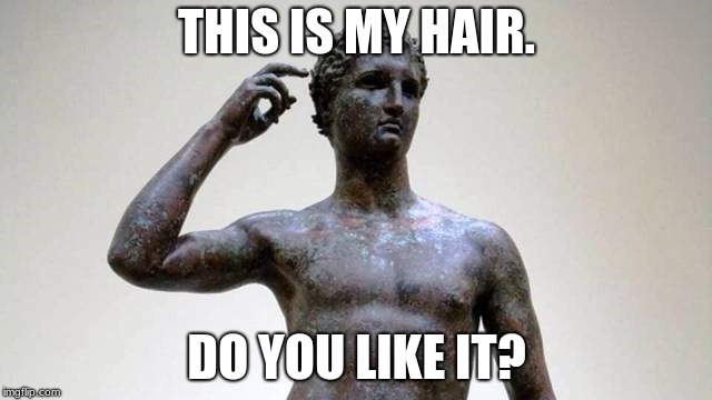 greek | THIS IS MY HAIR. DO YOU LIKE IT? | image tagged in greek | made w/ Imgflip meme maker