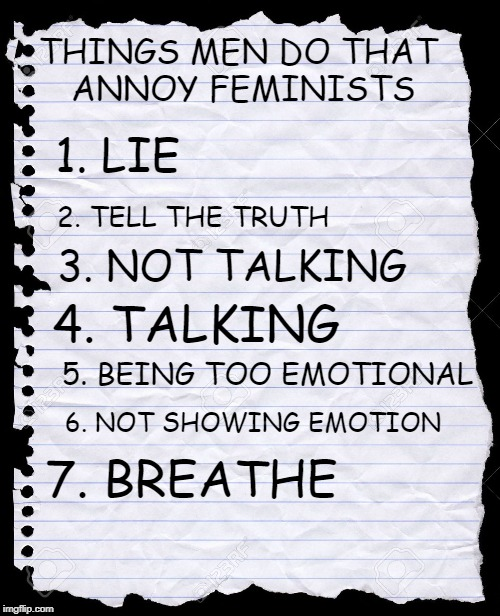 blank paper | THINGS MEN DO THAT ANNOY FEMINISTS 1. LIE 2. TELL THE TRUTH 3. NOT TALKING 4. TALKING 5. BEING TOO EMOTIONAL 6. NOT SHOWING EMOTION 7. BREAT | image tagged in blank paper | made w/ Imgflip meme maker